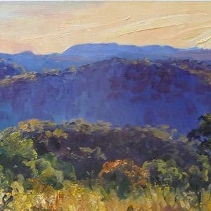 (CreativeWork) Blue Mountains Sunset by David Badcock. oil-painting. Shop online at Bluethumb.
