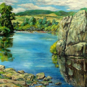 (CreativeWork) Canoes on Derwent River lagoon. by Raymond Wittenberg. oil-painting. Shop online at Bluethumb.