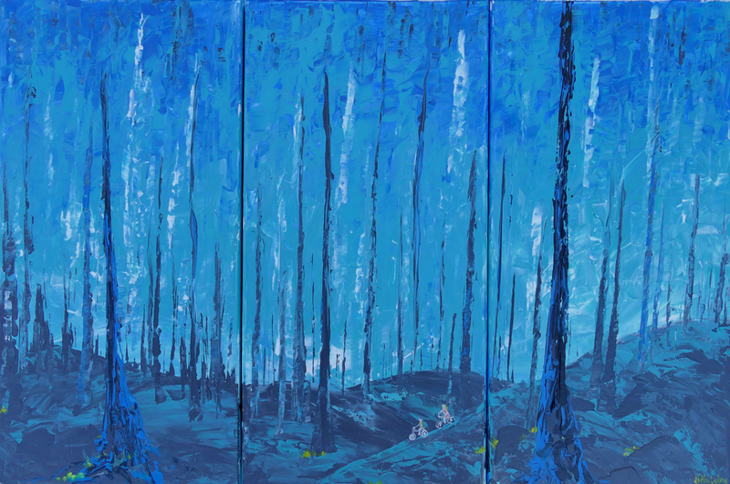 (CreativeWork) Blue Forest by Jennifer Whiteley. arcylic-painting. Shop online at Bluethumb.
