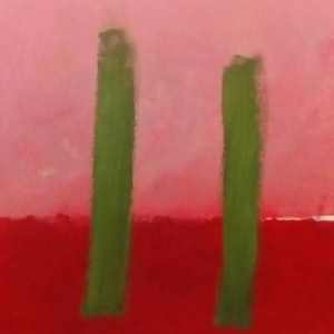 (CreativeWork) green poles by Matthew Simmons. arcylic-painting. Shop online at Bluethumb.