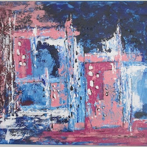 (CreativeWork) The City Never Sleeps by Jennie Smith. arcylic-painting. Shop online at Bluethumb.