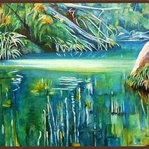 (CreativeWork) Sunlit spot - Mudgeeraba Creek by Susan Skuse. oil-painting. Shop online at Bluethumb.