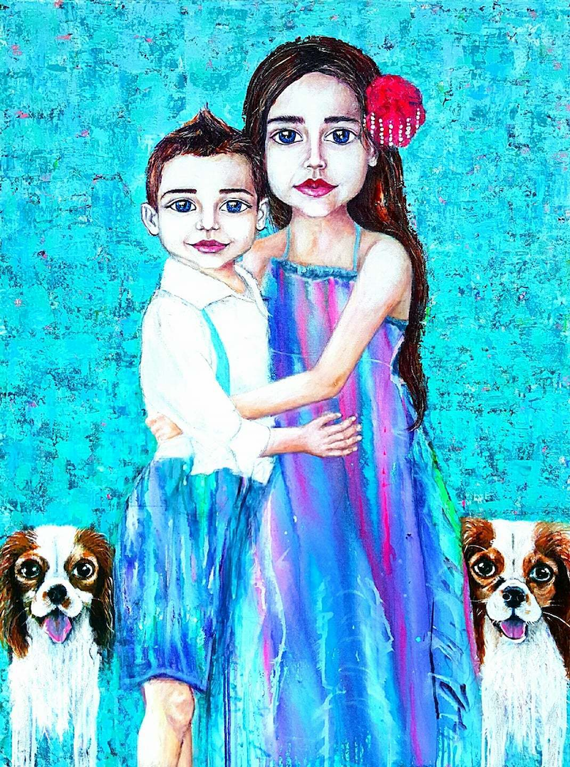 (CreativeWork) Fur Friends, Family by Tanya Cole. arcylic-painting. Shop online at Bluethumb.