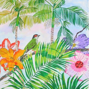 (CreativeWork) Tropical Dreamer by Latesha Houston. watercolour. Shop online at Bluethumb.