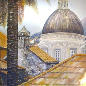 (CreativeWork) Old Town, Dubrovnik, Croatia by Susan Capan. oil-painting. Shop online at Bluethumb.