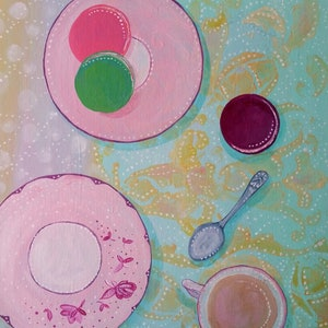 (CreativeWork) Afternoon Tea by shae leviston. arcylic-painting. Shop online at Bluethumb.
