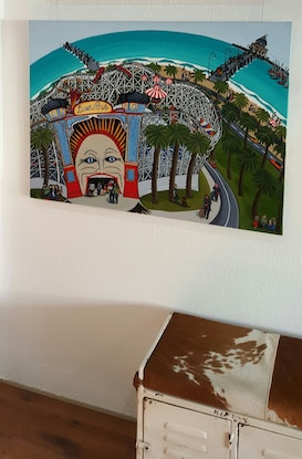 """(CreativeWork)  """"Face Of Luna Park""""  Original Painting by Helen Pynta. Mixed Media. Shop online at Bluethumb."""