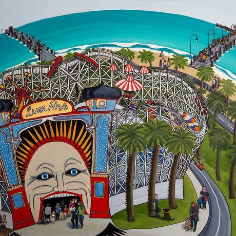 "(CreativeWork)  ""Face Of Luna Park""  Original Painting by Helen Pynta. Mixed Media. Shop online at Bluethumb."