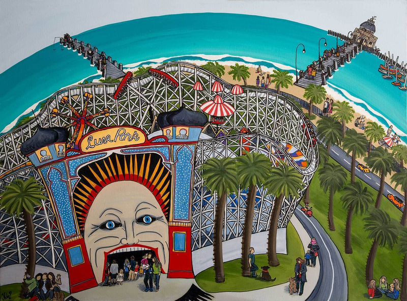 """(CreativeWork)  """"Face Of Luna Park""""  Original Painting by Helen Pynta. mixed-media. Shop online at Bluethumb."""