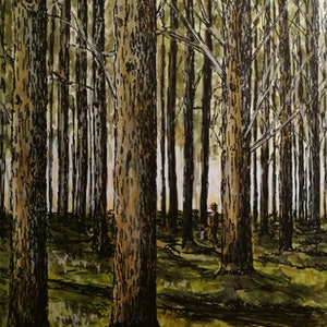 (CreativeWork) Pine forest by Ivan McClennan. mixed-media. Shop online at Bluethumb.