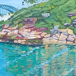 (CreativeWork) Morning Light. Sydney Harbour Bridge from Whiting Beach by John Winslow Lavery. arcylic-painting. Shop online at Bluethumb.