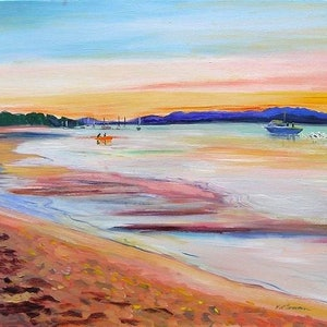 (CreativeWork) Town of 1770 Inlet Sunset  by Virginia McGowan. oil-painting. Shop online at Bluethumb.