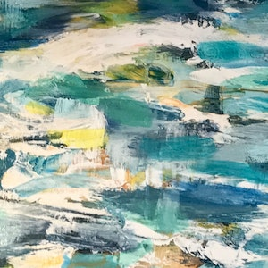 (CreativeWork) ocean vibes by Andriana Treasure. oil-painting. Shop online at Bluethumb.