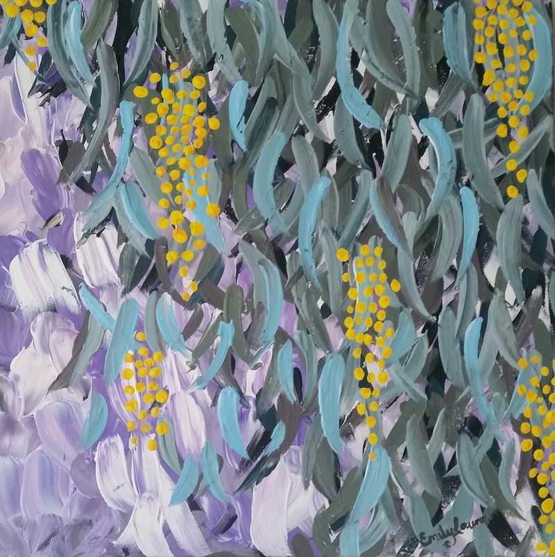 (CreativeWork) Golden Wattle by Emily Lauro. arcylic-painting. Shop online at Bluethumb.