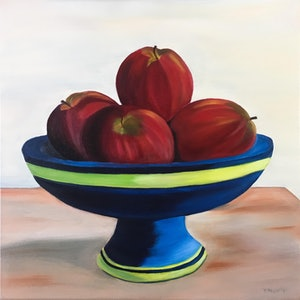 (CreativeWork) The Bowl of Apples by Yvonne Hegarty. oil-painting. Shop online at Bluethumb.