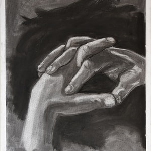 (CreativeWork) Two Hands by Marc Bergmann. drawing. Shop online at Bluethumb.