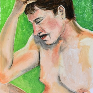 (CreativeWork) Male on the green by Marc Bergmann. drawing. Shop online at Bluethumb.