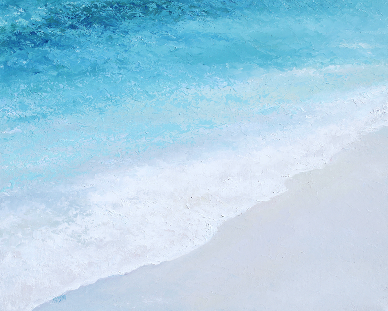 (CreativeWork) Turquoise Ocean by Jan Matson. oil-painting. Shop online at Bluethumb.