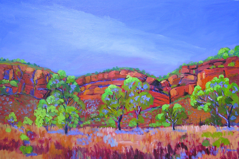 (CreativeWork) Kununurra Escarpment  by Virginia McGowan. oil-painting. Shop online at Bluethumb.