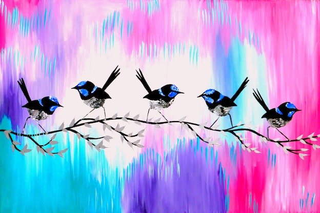 (CreativeWork) fairy wrens together by Cathy Jacobs. Acrylic Paint. Shop online at Bluethumb.
