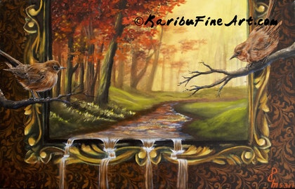 (CreativeWork) Autumn surreal Scene by Priya Gore. oil-painting. Shop online at Bluethumb.