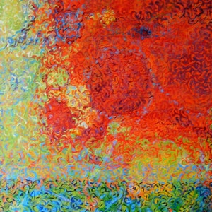 """(CreativeWork) """"Fire Ball"""" by Daniela Selir. arcylic-painting. Shop online at Bluethumb."""