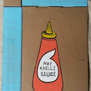 (CreativeWork) Hot Chili Sauce by Tim Fry. mixed-media. Shop online at Bluethumb.