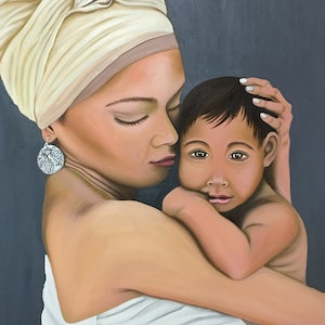 (CreativeWork) Maternal love by atefeh hekmat. oil-painting. Shop online at Bluethumb.
