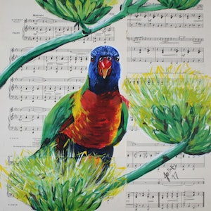 (CreativeWork) Songbird - Lorikeet by Julie Hollis. arcylic-painting. Shop online at Bluethumb.