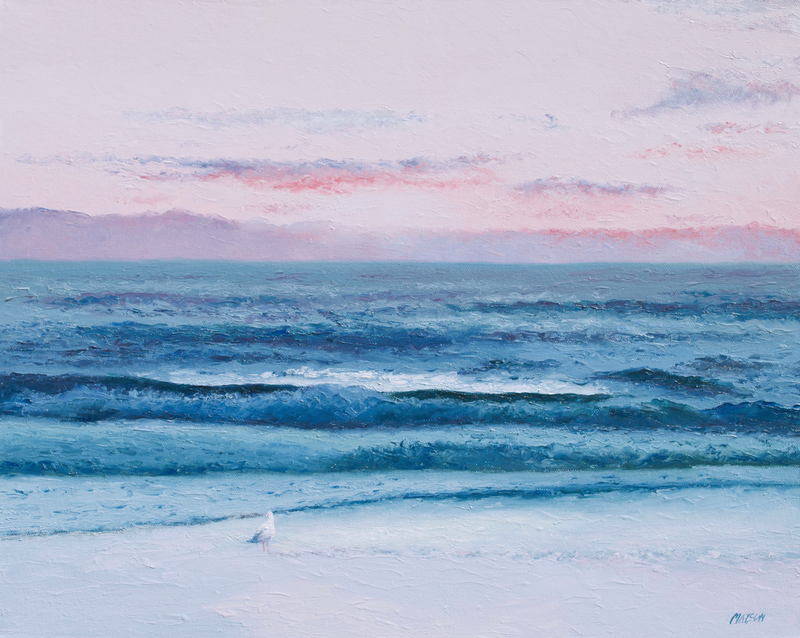 (CreativeWork) Footprints in the Sand by Jan Matson. oil-painting. Shop online at Bluethumb.
