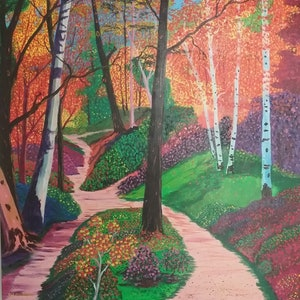 (CreativeWork) Down the garden path by Debra Lohrere. arcylic-painting. Shop online at Bluethumb.