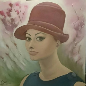 (CreativeWork) ''Sophie Loren'' portrait by Ema mullalli. oil-painting. Shop online at Bluethumb.
