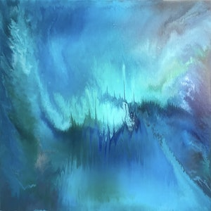 (CreativeWork) Emerald City by Rachael Higby. arcylic-painting. Shop online at Bluethumb.