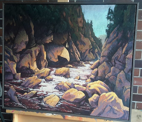 (CreativeWork) The Ravine by Mac Monks. Acrylic Paint. Shop online at Bluethumb.