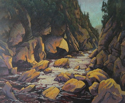 (CreativeWork) The Ravine by Mac Monks. arcylic-painting. Shop online at Bluethumb.