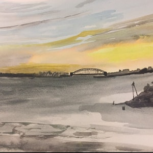 (CreativeWork) Leaving Sydney at Sunset  by Ruth Bye. watercolour. Shop online at Bluethumb.