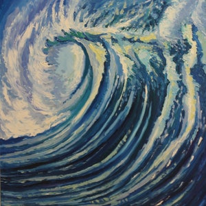 "(CreativeWork) ""Wave""portrait by Ema mullalli. oil-painting. Shop online at Bluethumb."