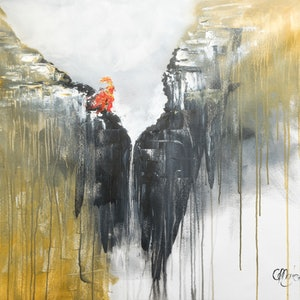 (CreativeWork) Girl on cliff by Keili Major. mixed-media. Shop online at Bluethumb.