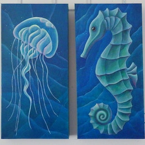 (CreativeWork) Sea Creatures  by Barbara Vonk. oil-painting. Shop online at Bluethumb.
