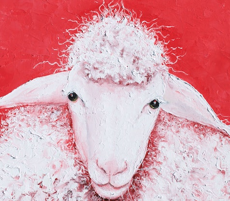 (CreativeWork) Woolly Sheep named Gabriel by Jan Matson. Oil Paint. Shop online at Bluethumb.