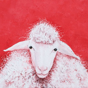 (CreativeWork) Woolly Sheep named Gabriel by Jan Matson. oil-painting. Shop online at Bluethumb.