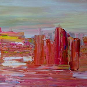 (CreativeWork) Pink Canyons   REDUCED by Nicole Hunt. arcylic-painting. Shop online at Bluethumb.