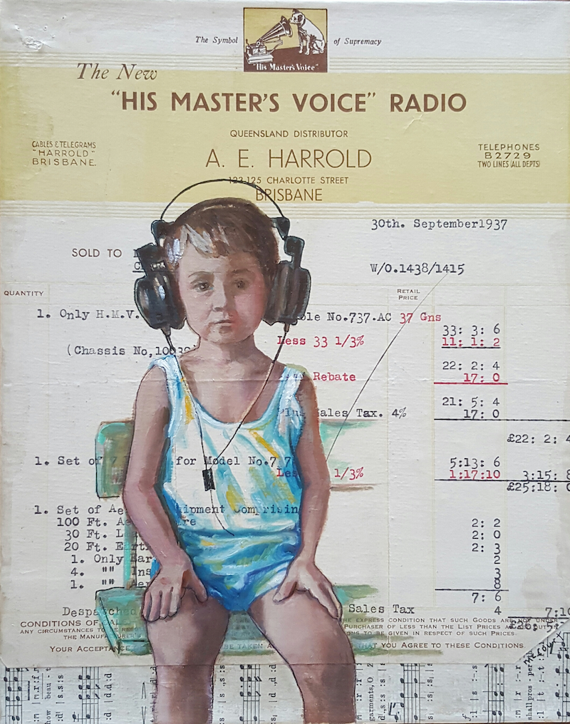 (CreativeWork) Harrold Hears His Master's Voice  by Sherry McCourt. mixed-media. Shop online at Bluethumb.