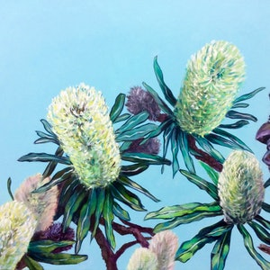 (CreativeWork) Beach Banksias by Chris Hobel. arcylic-painting. Shop online at Bluethumb.