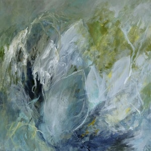 (CreativeWork) Blue Leaves by Christine Scurr. acrylic-painting. Shop online at Bluethumb.