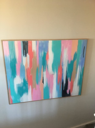 (CreativeWork) Tickle Me Pink - Framed by April Lockwood. Acrylic Paint. Shop online at Bluethumb.