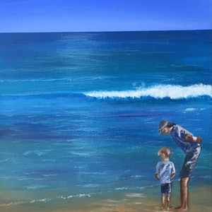 (CreativeWork) At The Beach 35.5cmx71cm by Di Parsons. arcylic-painting. Shop online at Bluethumb.