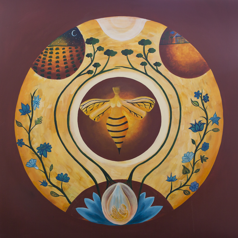 (CreativeWork) Queen Bee/Mother God by Leah Pirone. arcylic-painting. Shop online at Bluethumb.