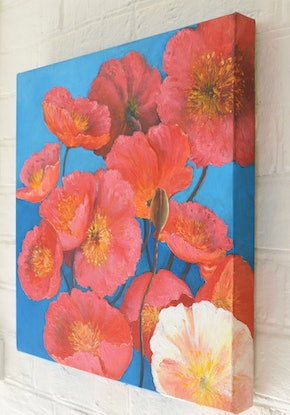 (CreativeWork) Orange Poppies by Jan Matson. Oil Paint. Shop online at Bluethumb.