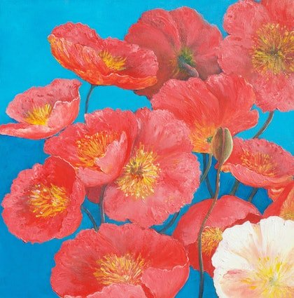 (CreativeWork) Orange Poppies by Jan Matson. oil-painting. Shop online at Bluethumb.